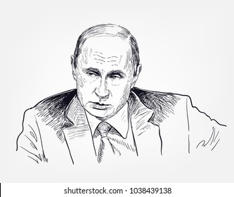 putin vladimir vector sketch illustration portrait