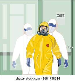 Putin in a yellow infectious suit. President Putin at the Kommunarka infectious diseases hospital. doctors behind a glass door. Putin in a masked hospital. Putin and coronavirus. Coronavirus in Russia