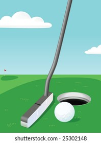 Putter, ball, hole and golf green.  A vector illustration