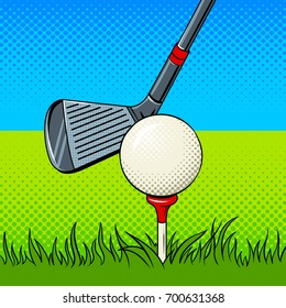 Putter and golf ball pop art style vector illustration. Comic book style imitation