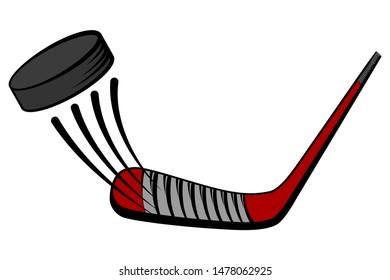 Putter on the puck. Vector cartoon illustration