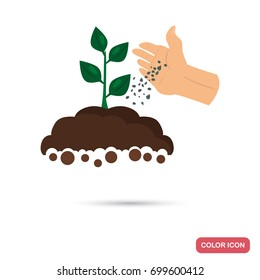 Putting fertilizer to the agriculture crop color flat icon for web and mobile design