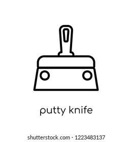 Putty knife icon. Trendy modern flat linear vector Putty knife icon on white background from thin line Construction collection, editable outline stroke vector illustration