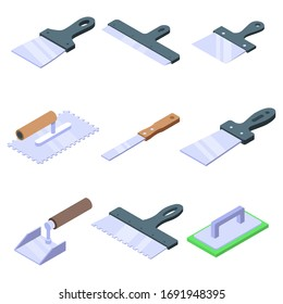 Putty knife icons set. Isometric set of putty knife vector icons for web design isolated on white background