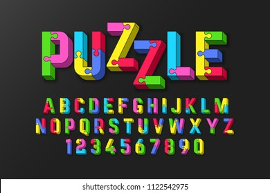 Puzzle 3d font, jigsaw puzzle alphabet and numbers, vector illustration