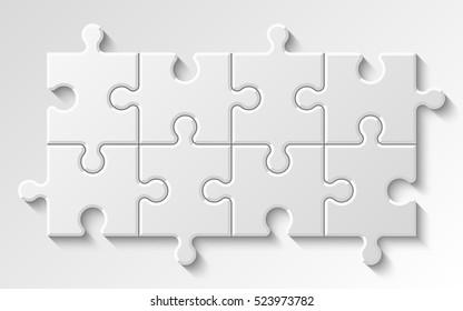 Puzzle 8 piece business presentation. Circle infograph. Step process diagram. Section compare banner.