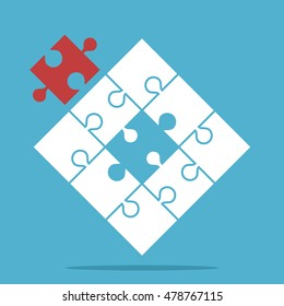 Puzzle with assembled white and missing red piece on blue background. Teamwork, partnership and solution concept. Flat design. Vector illustration. EPS 8, no transparency