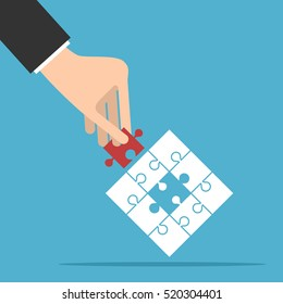 Puzzle with assembled white and missing red piece in hand on blue background. Teamwork, partnership and solution concept. Flat design. Vector illustration. EPS 8, no transparency