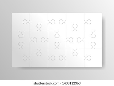 Puzzle background, banner, blank. Jigsaw section template. Modern vector illustration.