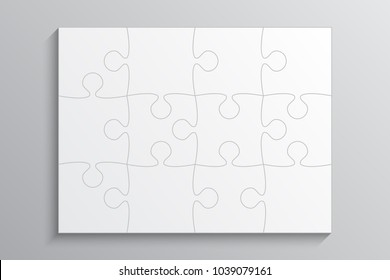 Puzzle background, banner, blank. Vector jigsaw section template. Background with white puzzle frame separate pieces, mosaic, details, tiles, parts. Rectangle abstract jigsaw. Game group detail.