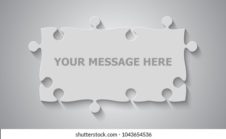 Puzzle background, banner, blank. Vector jigsaw section template. Background with grey puzzle frame separate pieces, mosaic, details, tiles, parts. Rectangle store board jigsaw. Game group detail.