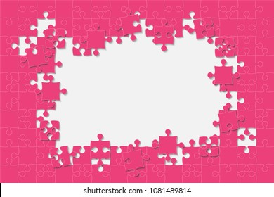 Puzzle background, banner, blank. Vector jigsaw section template. Background with pink puzzle frame separate pieces, mosaic, details, tiles, parts. Rectangle abstract jigsaw. Game group detail.
