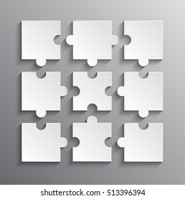 Puzzle background, banner, blank. Vector jigsaw section template. Background with puzzle 9 grey separate pieces mosaic, details, tiles, parts. Square outline abstract jigsaw. Game group detail.