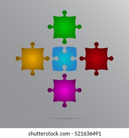 Puzzle background, banner, blank. Vector jigsaw section template. Background with puzzle 5 mulricolor separate pieces, mosaic, details, tiles, parts. Square outline abstract jigsaw. Game group detail.