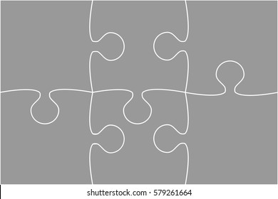 Puzzle background, banner, blank. Vector jigsaw section template. Background with puzzle 6 grey separate pieces mosaic, details, tiles, parts. Rectangle outline abstract jigsaw. Game group detail.