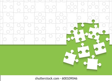 Puzzle background, banner, blank. Vector jigsaw section template. Background with green puzzle frame separate pieces mosaic details, tiles, parts. Rectangle outline abstract jigsaw. Game group detail.