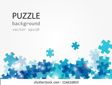 Puzzle blue background with place for text