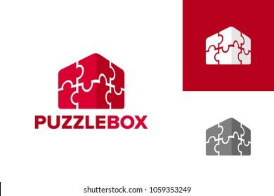 Puzzle Box Logo Template Design Vector, Emblem, Design Concept, Creative Symbol, Icon