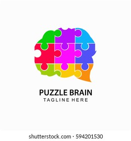 Puzzle brain abstract logo template