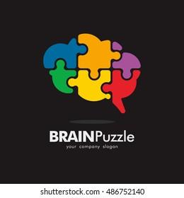 PUZZLE BRAIN IDEA CREATIVE LOGO ICON ELEMENT TEMPLATE