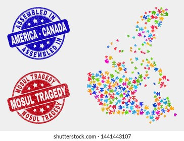 Puzzle Canada v2 map and blue Assembled seal stamp, and Mosul Tragedy distress seal stamp. Bright vector Canada v2 map mosaic of plugin bricks. Red round Mosul Tragedy imprint.