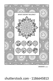 Puzzle and coloring activity page with visual logic puzzle and wide decorative frame to color. Answer included.
