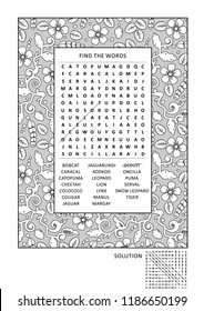 Puzzle and coloring activity page with wild cats word search puzzle (English) and wide decorative frame to color. Answer included.