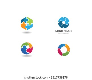 Puzzle and community care Logo template
