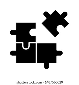 Puzzle compatible icon in flat style. Jigsaw agreement vector illustration on white isolated background.. Icon vector illustrator