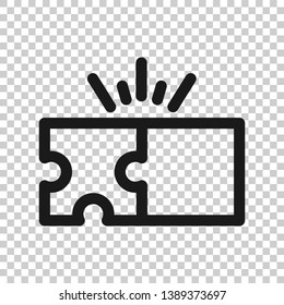 Puzzle compatible icon in transparent style. Jigsaw agreement vector illustration on isolated background. Cooperation solution business concept.