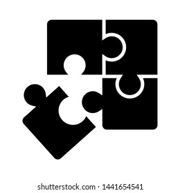 Puzzle compatible icon vector. Jigsaw agreement illustration. Cooperation solution logo.