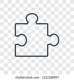 Puzzle concept vector linear icon isolated on transparent background, Puzzle concept transparency concept in outline style