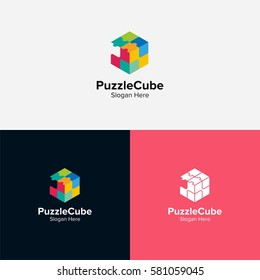 Puzzle cube logo vector