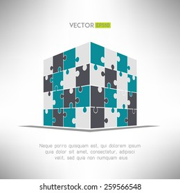 Puzzle cube in pespective. Building construction concept. Vector illustration