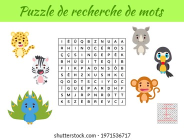 Puzzle de recherche de mots - Word search puzzle with pictures. Educational game for study French words. Kids activity worksheet colorful printable version. Includes answers. Vector stock illustration