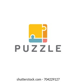 puzzle design logo template