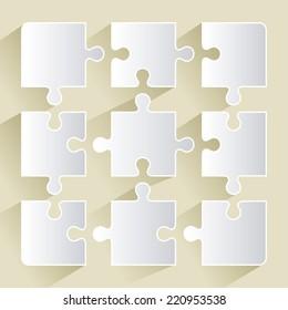 Puzzle design over beige background, vector illustration