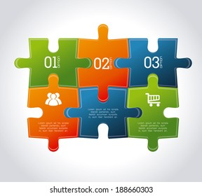 Puzzle design over gray background, vector illustration