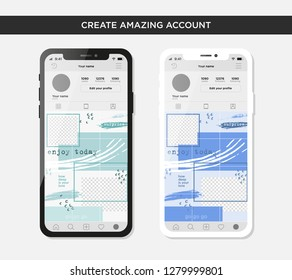 puzzle design template for grid Instagram account. mockup for creature your unique content.