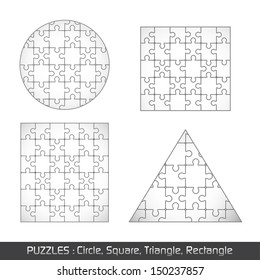 Puzzle Different Object Set - Isolated On White Background, Vector Illustration, Graphic Design Editable For Your Design.