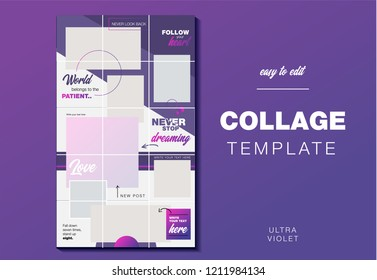 Puzzle endless design Template Instagram Pack for creature your unique content. Modern ultra violet gradient