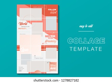 Puzzle endless design Template for Instagram account. Pack for creating your unique content. Modern template in color trend 2019 Living Coral