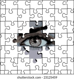 puzzle and eye, background vector 2