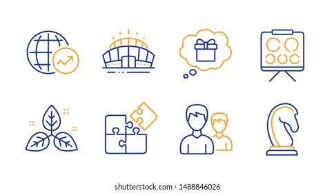 Puzzle, Fair trade and Arena stadium line icons set. Vision board, Couple and World statistics signs. Gift dream, Marketing strategy symbols. Engineering strategy, Leaf. Business set. Vector