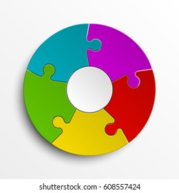 Puzzle five color piece business presentation. Circle infograph. 5 Step round process diagram. Section compare banner.