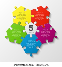 Puzzle five piece business presentation. Circle infograph. 5 Step round process diagram. Section compare banner.