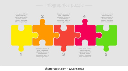 Puzzle Five Pieces Parts for Business Presentation. Line Infographics. 5 Steps Process Line Card. Section Compare Service Banner or Background. Puzzle Infographics.