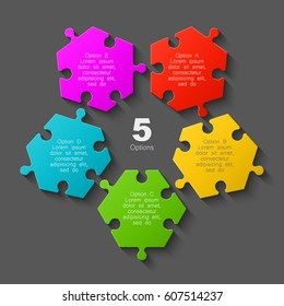 Puzzle five scattered piece business presentation. Circle disassembled infograph. 5 Step round process diagram.