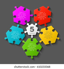 Puzzle five scattered piece business presentation. Circle disassembled infograph. 5 Step demounted round process diagram.