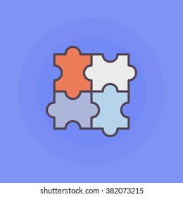 Puzzle flat icon - vector logic colorful puzzle symbol or sign. Solutions illustration with jigsaw puzzle